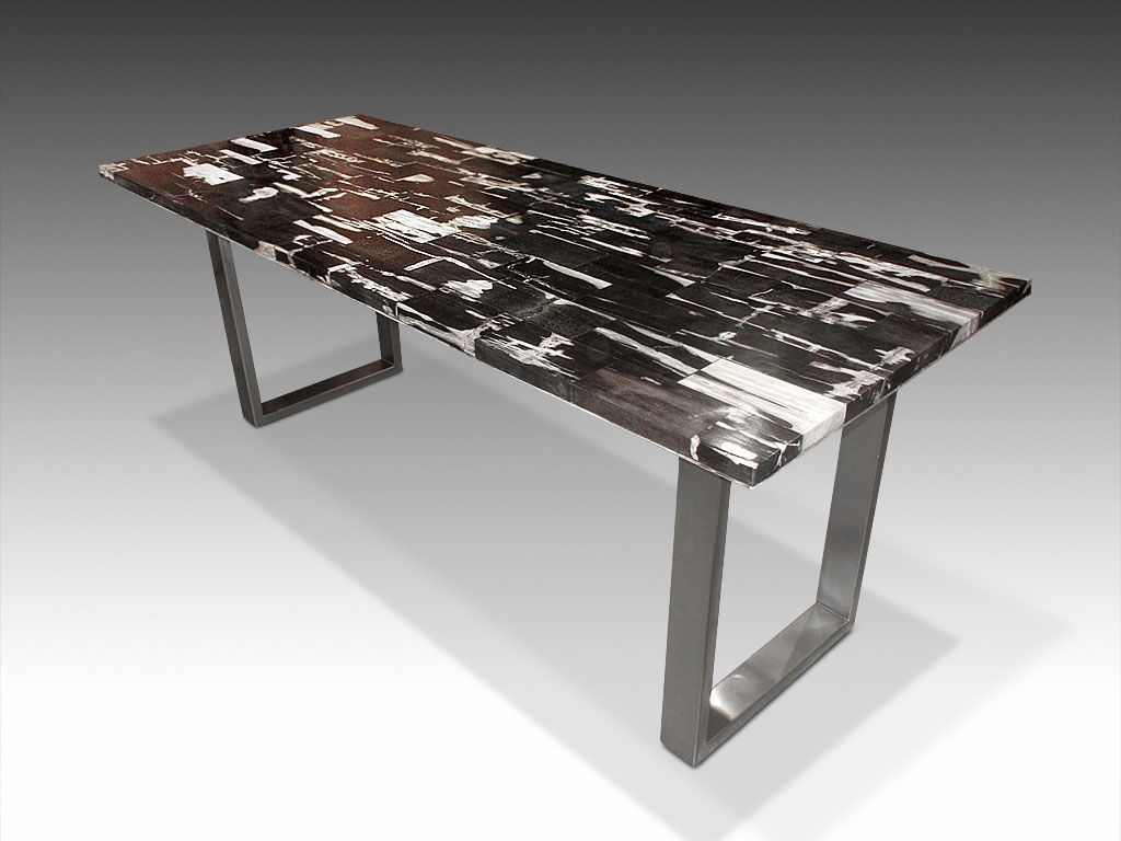 Petrified wood tile dining table with stainless steel base