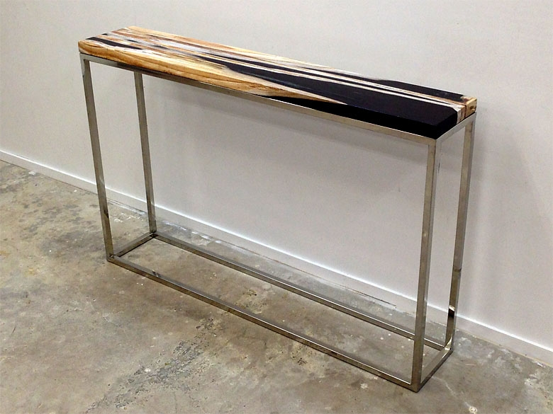 Petrified wood console table on mirror polished stainless steel base