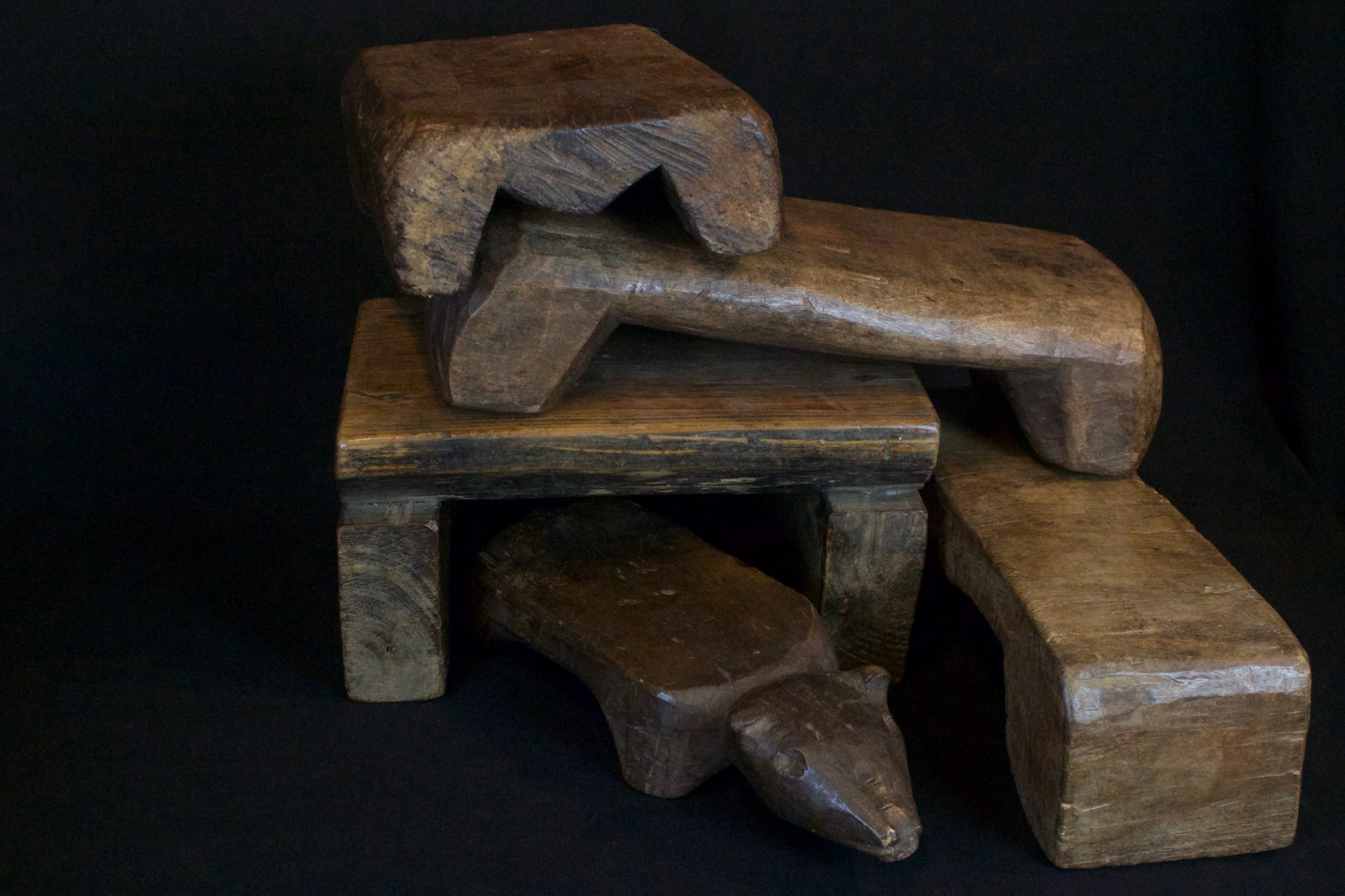 "Hand Carved Wooden Ceremonial Shaman Stools, from the late 19th to mid 20th century, Wood, Used for meditation and for ritual ceremonies, Mid 19th to early 20th century, 8"" to 14"", $95. to $190."