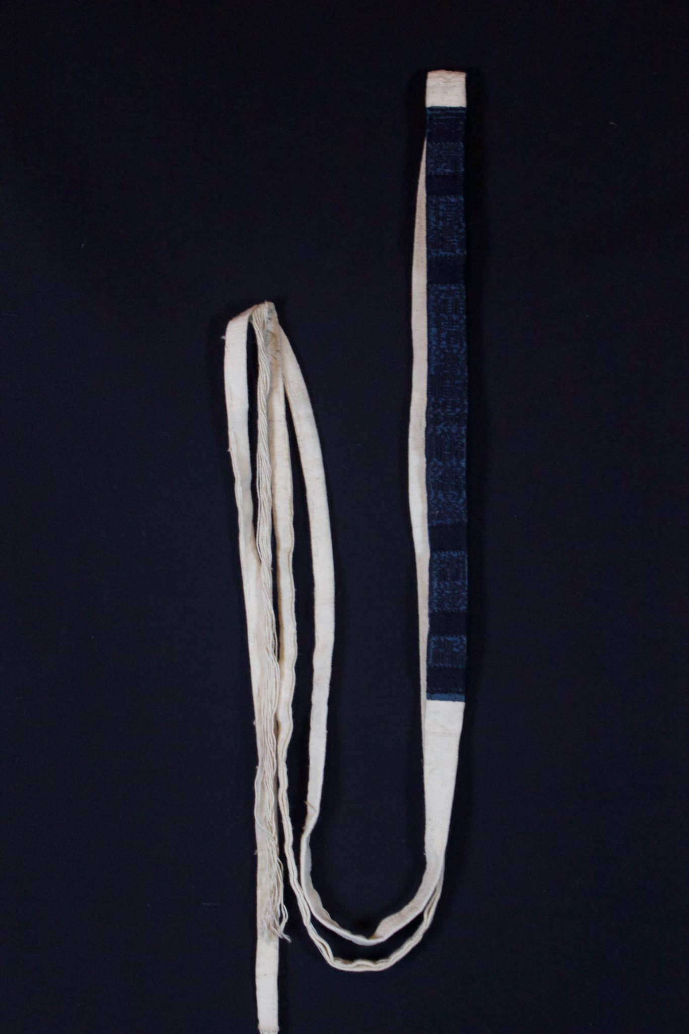 "Shaman Belt, Vietnam, Yao people, Mid 20th c, Cotton cloth, indigo dye, Part of shaman's costume. 110"" x ¾"""" x ⅛"", $30"