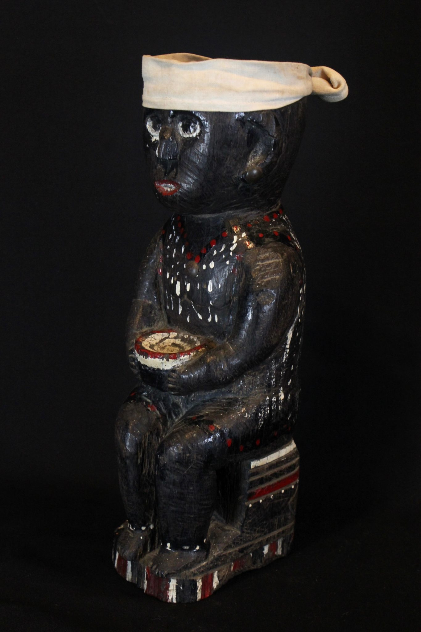 "Medicine Man Effigy Betel Nut Offering Figure, Kalimantan, Borneo, Indonesia, Dayak tribe, Early 20th c, Wood, cloth, paint Used to hold betel nuts as a ritual offering to the deities. 13"" x 4 ½"" x 5"", $1200."