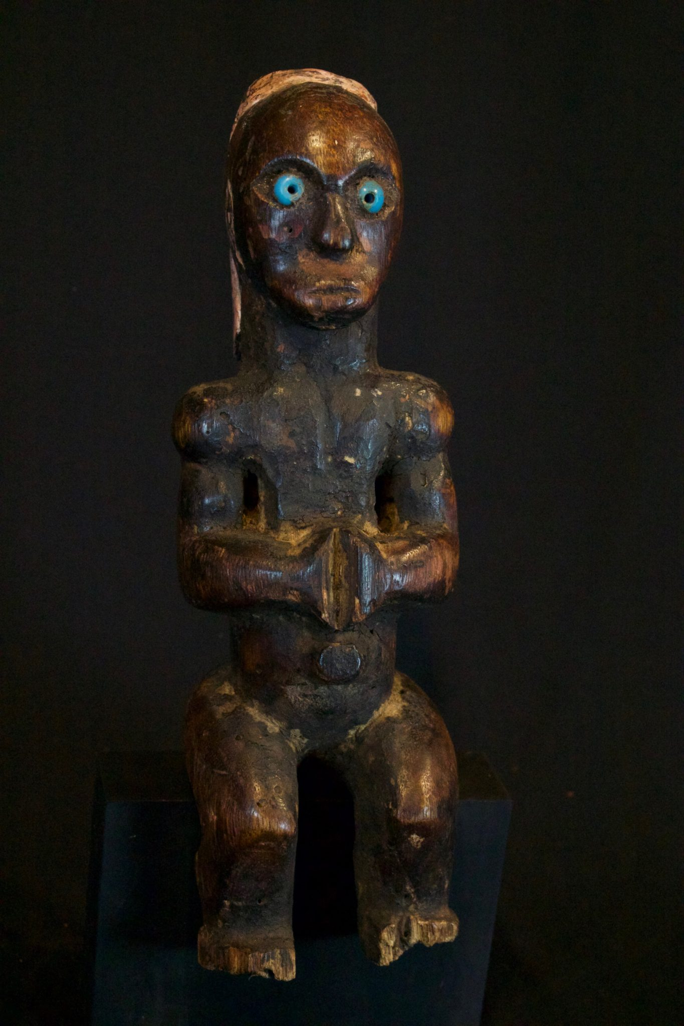 "Shaman Talisman Figure, Wetar Island, Timor Islands, Lesser Sunda Islands, Indonesia, Late 19th c, Wood, pigment, glass bead eyes. Used for healing treatment. 12 ½"" x 4"" x 4"", $430."