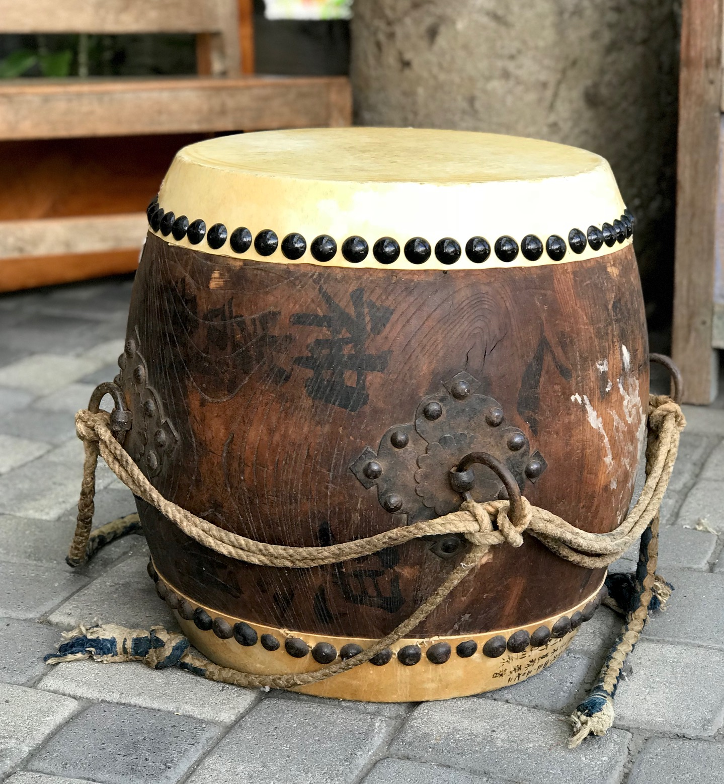 "Japanese Taiko Style (tacked down) Drum, Japan, 19th c Edo Period, (new head skin and tacks), wood, rawhide, rope, iron rings and tacks, ink/paint, 20"" x 24"", $1200.; thedavidalancollection.com , solana beach, ca"