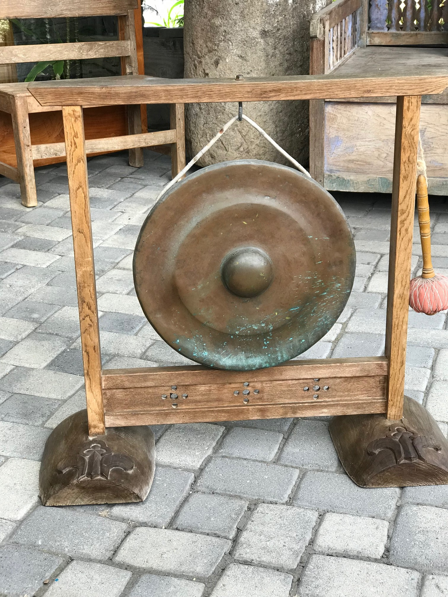 "Musical Instrument, Hanging Gong and Striker with wood frame and hand carved stand, Japan, bronze, wood, fabric, rope, gong - 32 1/2"" x 36"" x 12"" (Frame - 17 1/2"" x 6""), $2400., thedavidalancollection , solana beach, ca"