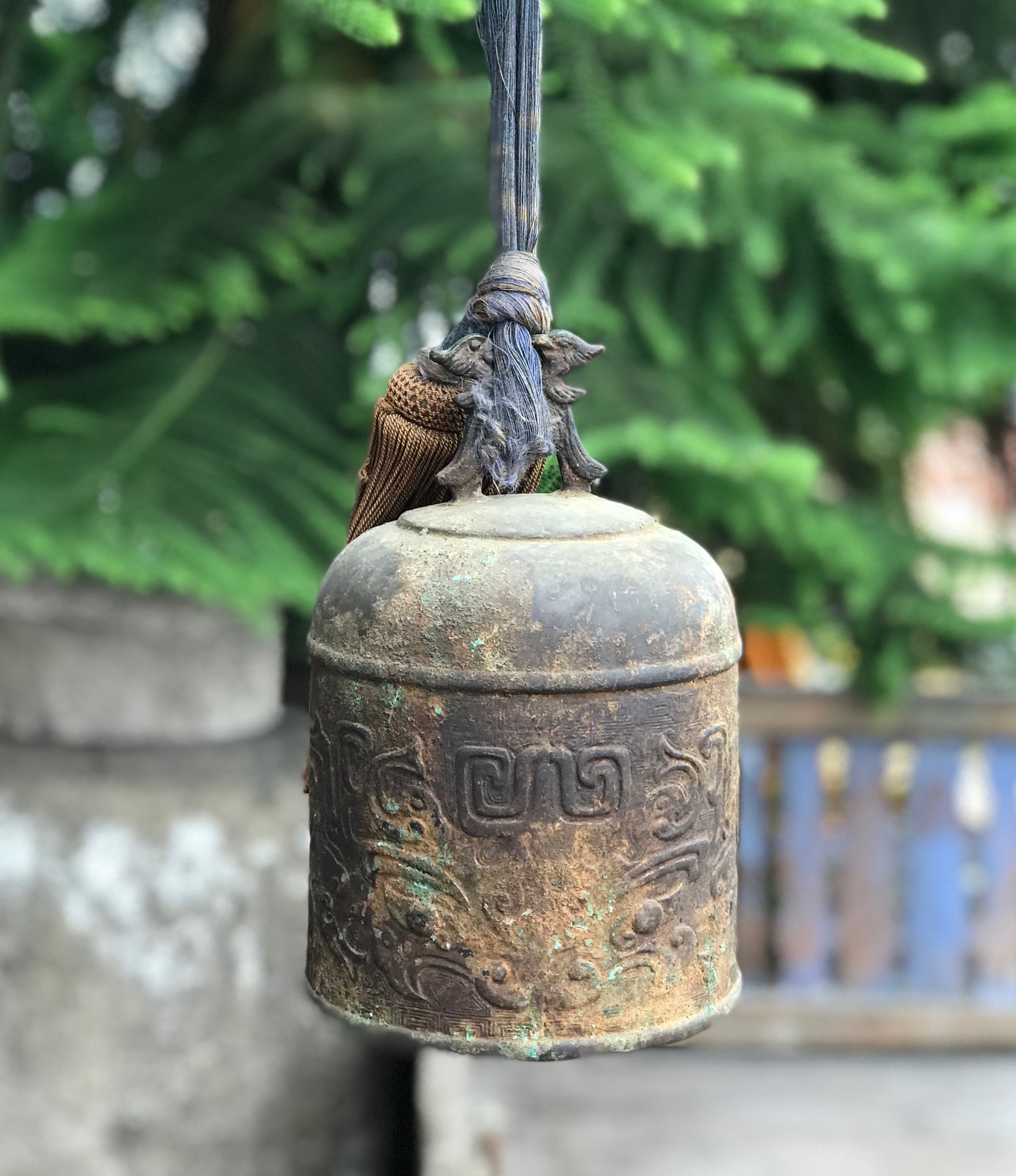 "Bell Gong, Antique Japanese, is played with an unattached striker. Cloth handle strap and tassel, Bronze, 9 1/2"" x 6"", $1200."