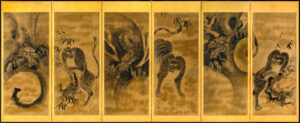 Japan Six-Panel Tiger Byobu Wall-Mount