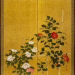 Two-Panel Gold Roses Byobu