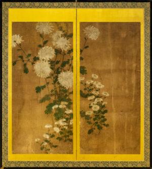 Two-Panel Gold Chrysanthemum Byobu