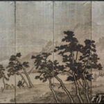 Six-Panel Silver Hillside Bay Byobu