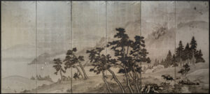 Six-Panel Silver Hillside Bay Byobu