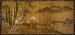 Six-Panel Crane Byobu