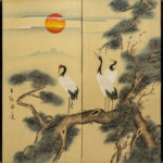 Two-Panel Crane Sunrise Byobu