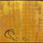 Two-Panel Gold Mouse Byobu