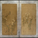 Two-Panel Flowers Byobu