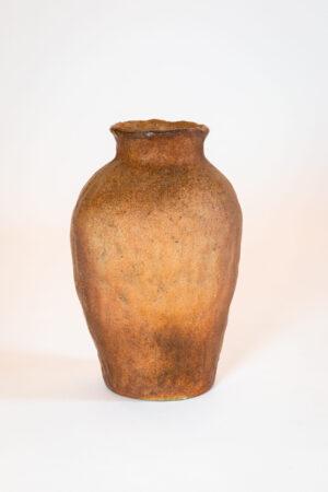 Japan Ceramic Vase with Sculpted Scene Shelf-Top