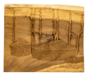"""Log Huts"" Studio Carving, David Alan Original Design"