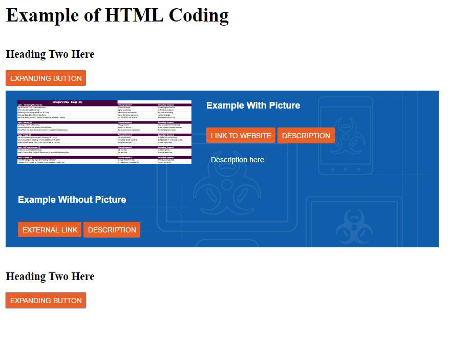 Example of Coding in HTML by Katherine A Hayes