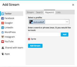 screenshot of setting up hootsuite stream for social listening