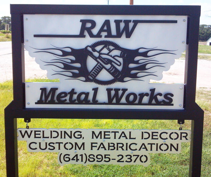 RAW Metal Works sign