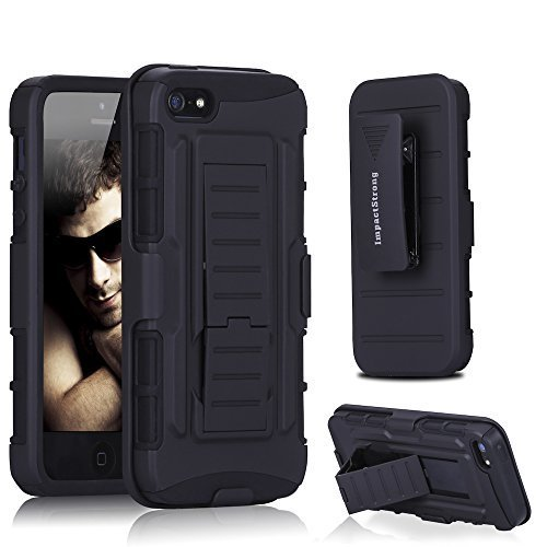 iPhone-55S-Case-ImpactStrong-BeltClip-Kickstand-Also-Fit-Apple-iPhone-55S-Dual-Layer-Holster-Cover-with-Locking-B0169KU0Y0