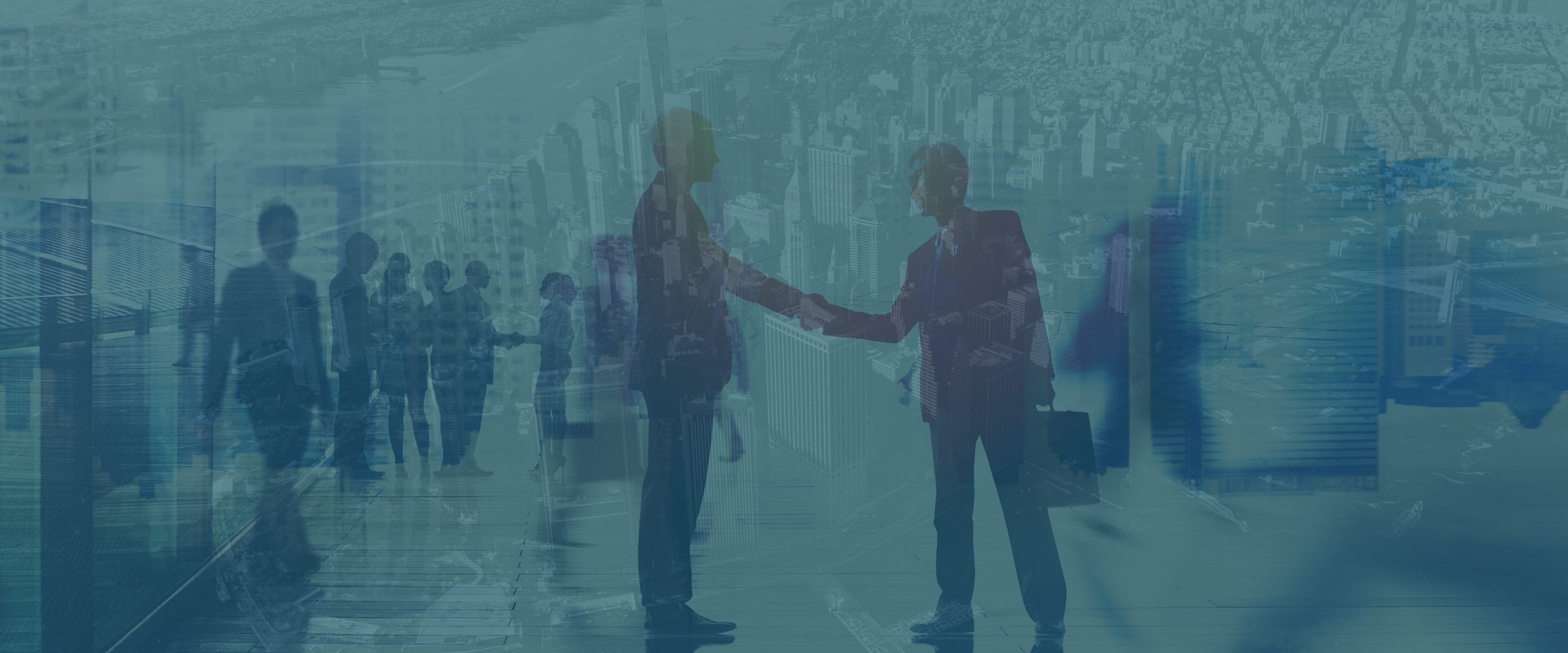 Double exposure image of two men shaking hands