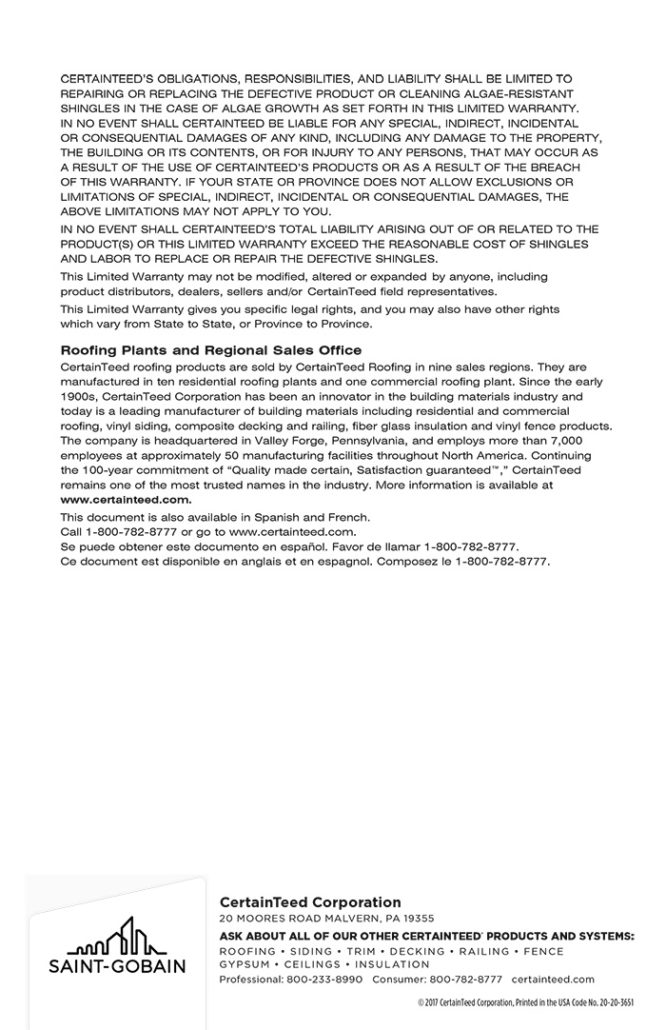 Shingles Warranty Information Supreme Renovations Llc