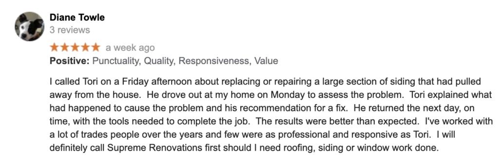 customer review siding