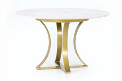 Marble Top Table & Iron Base in Gold finish