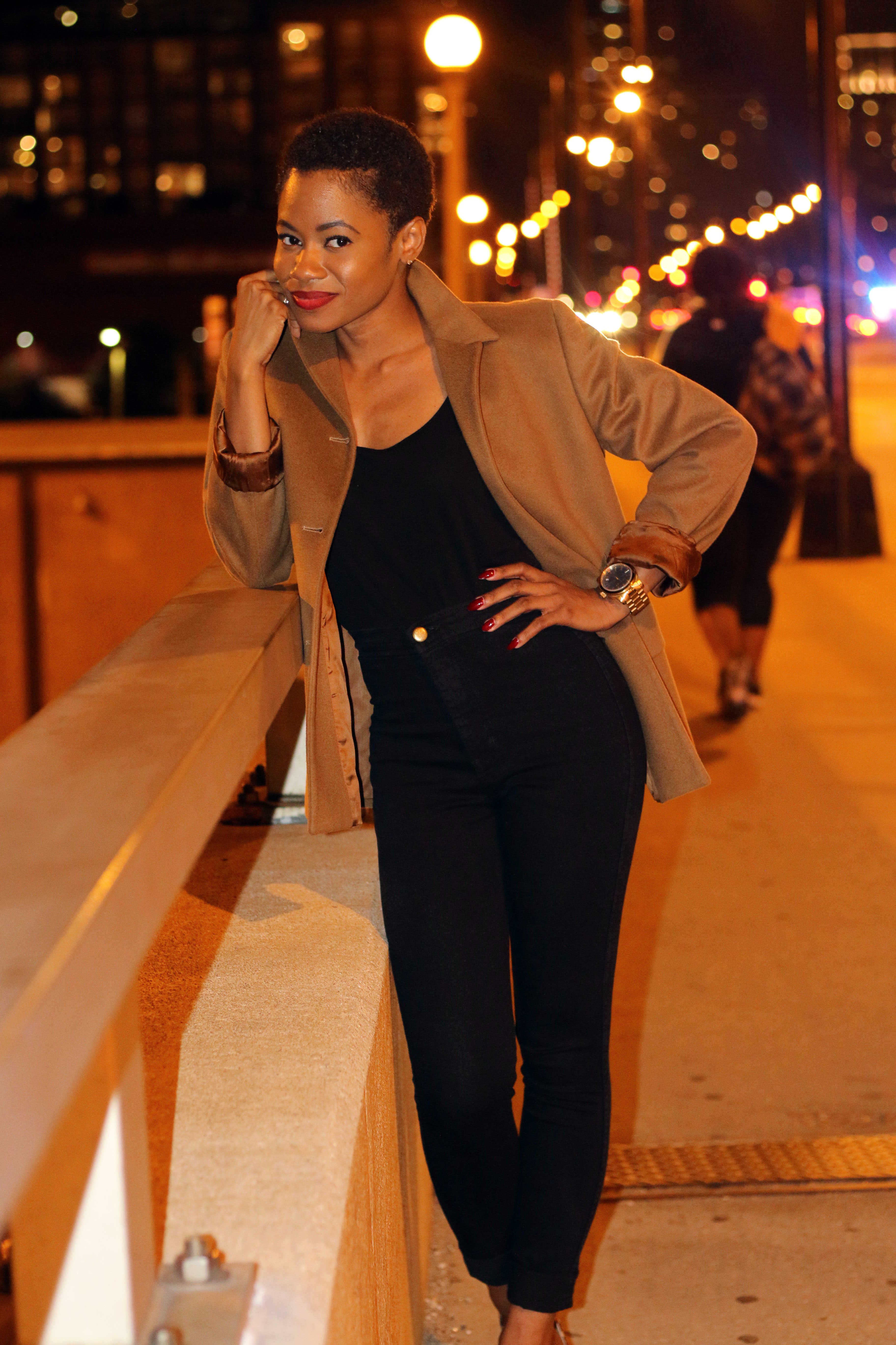 Cashmere brown blazer and all black