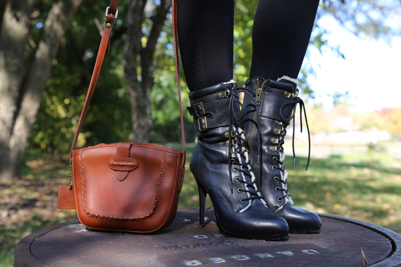 Black ALDO Boots and Liz Claiborne Bag