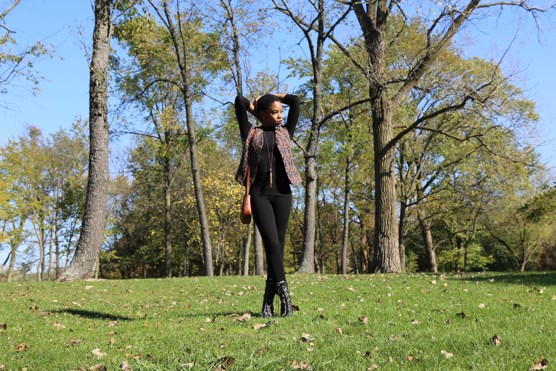 Pattern Vest and Black Leggings