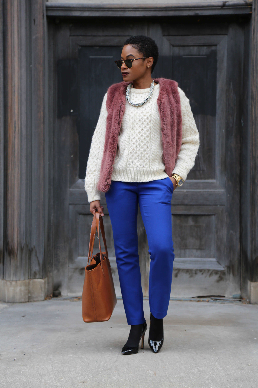 Purple Fur Vest and Loft Pants with Ralph Lauren Purse