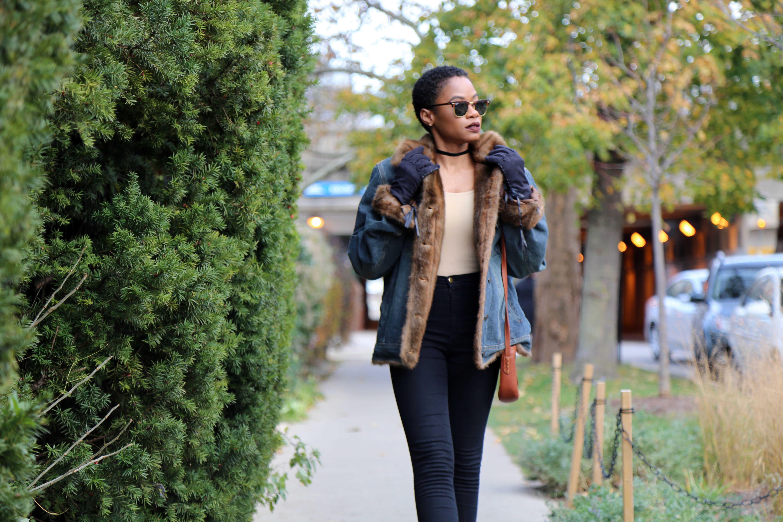 Denim Coat with Faux Fur