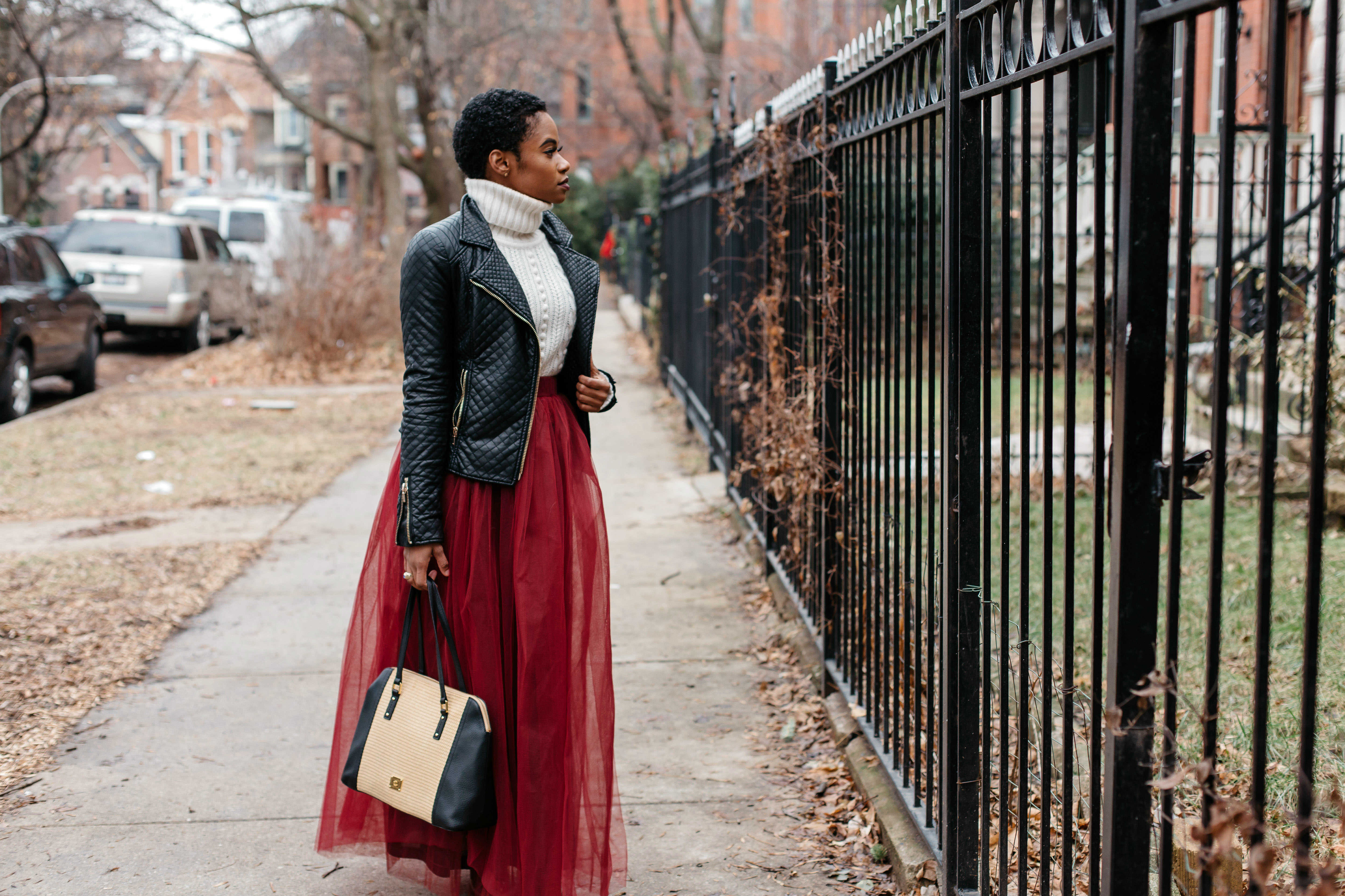 Leather Jacket and Red Tulle Skirt 2