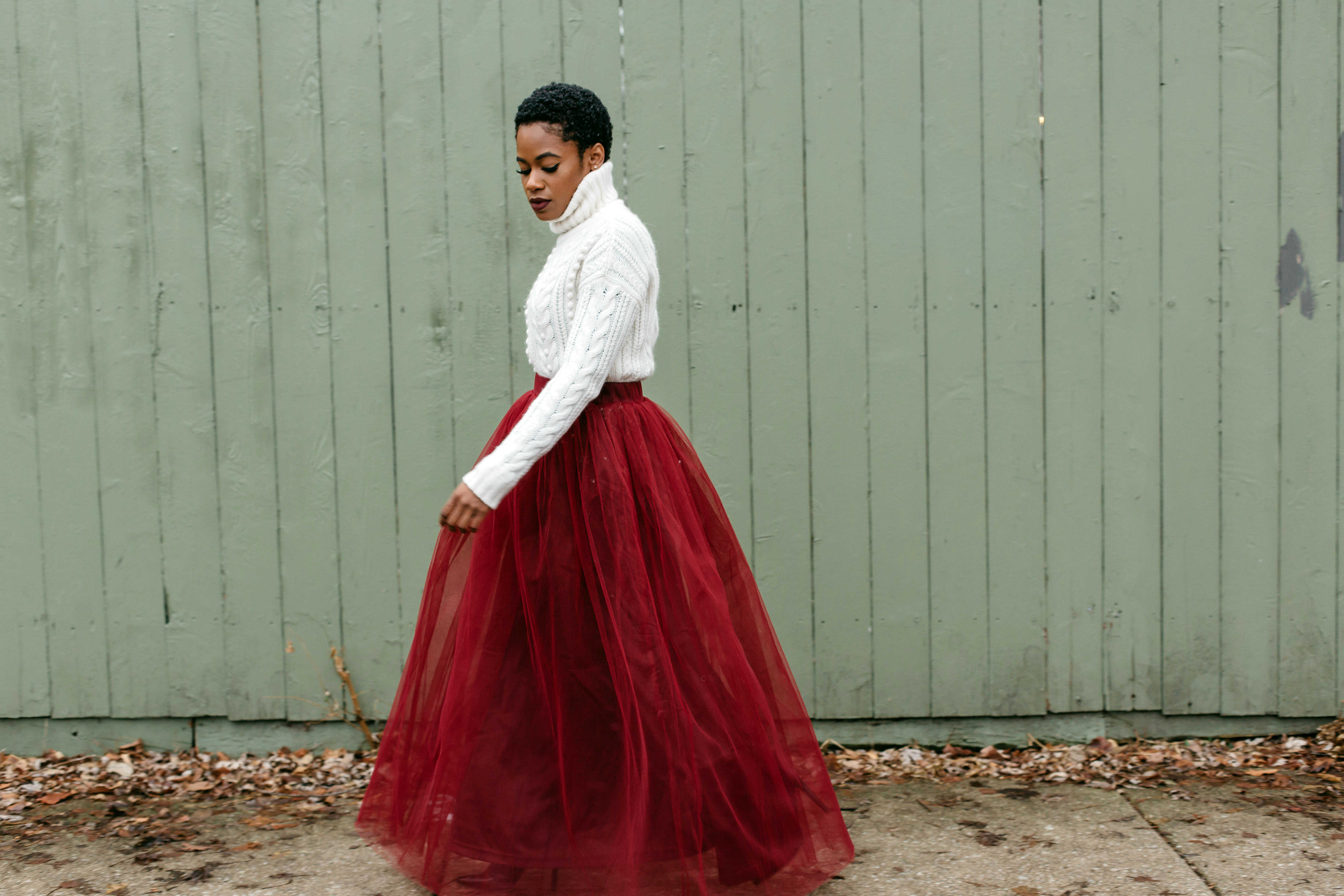 White Turtleneck and Red Tulle Skirt 3