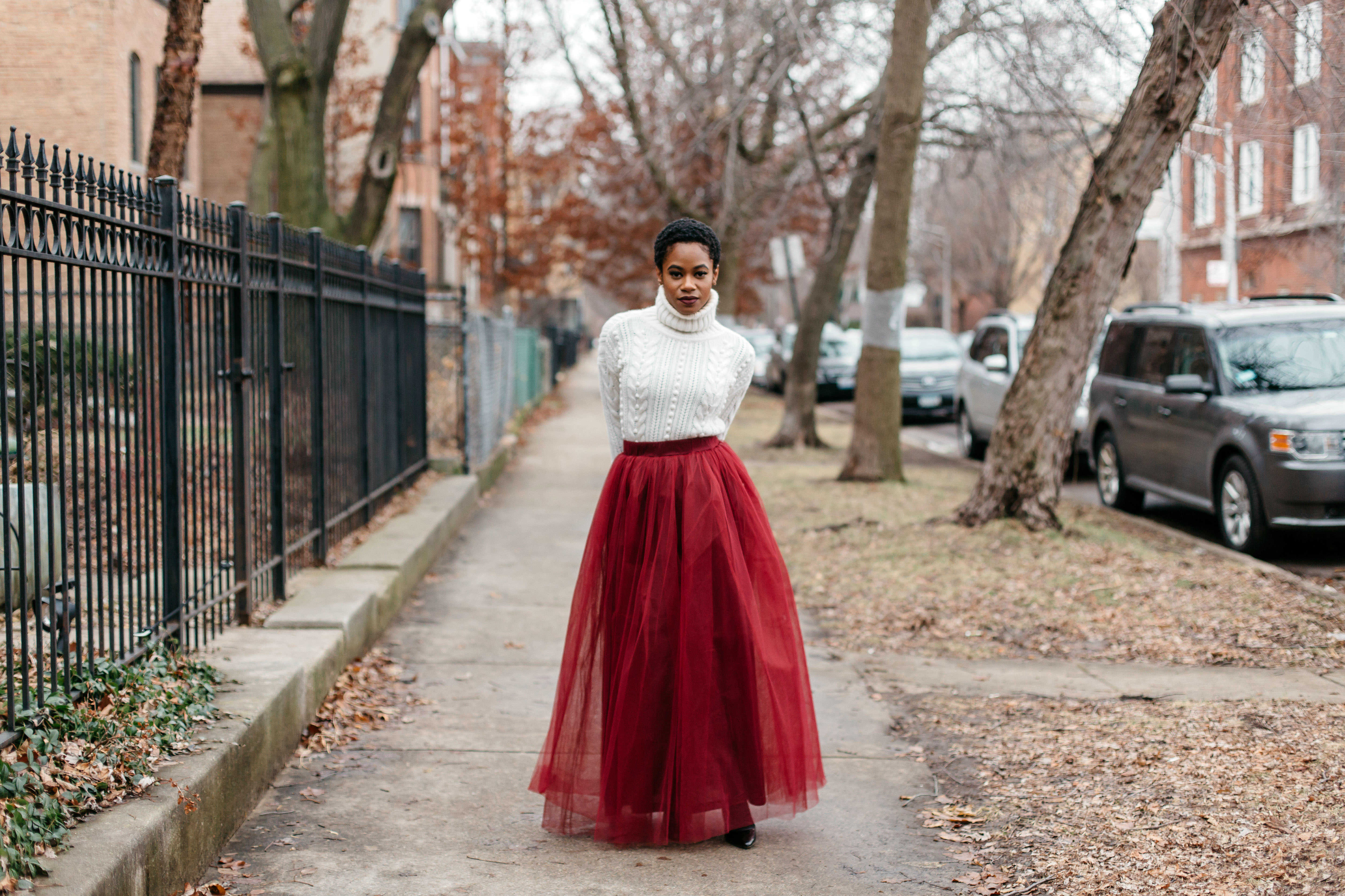 White Turtleneck and Red Tulle Skirt 5
