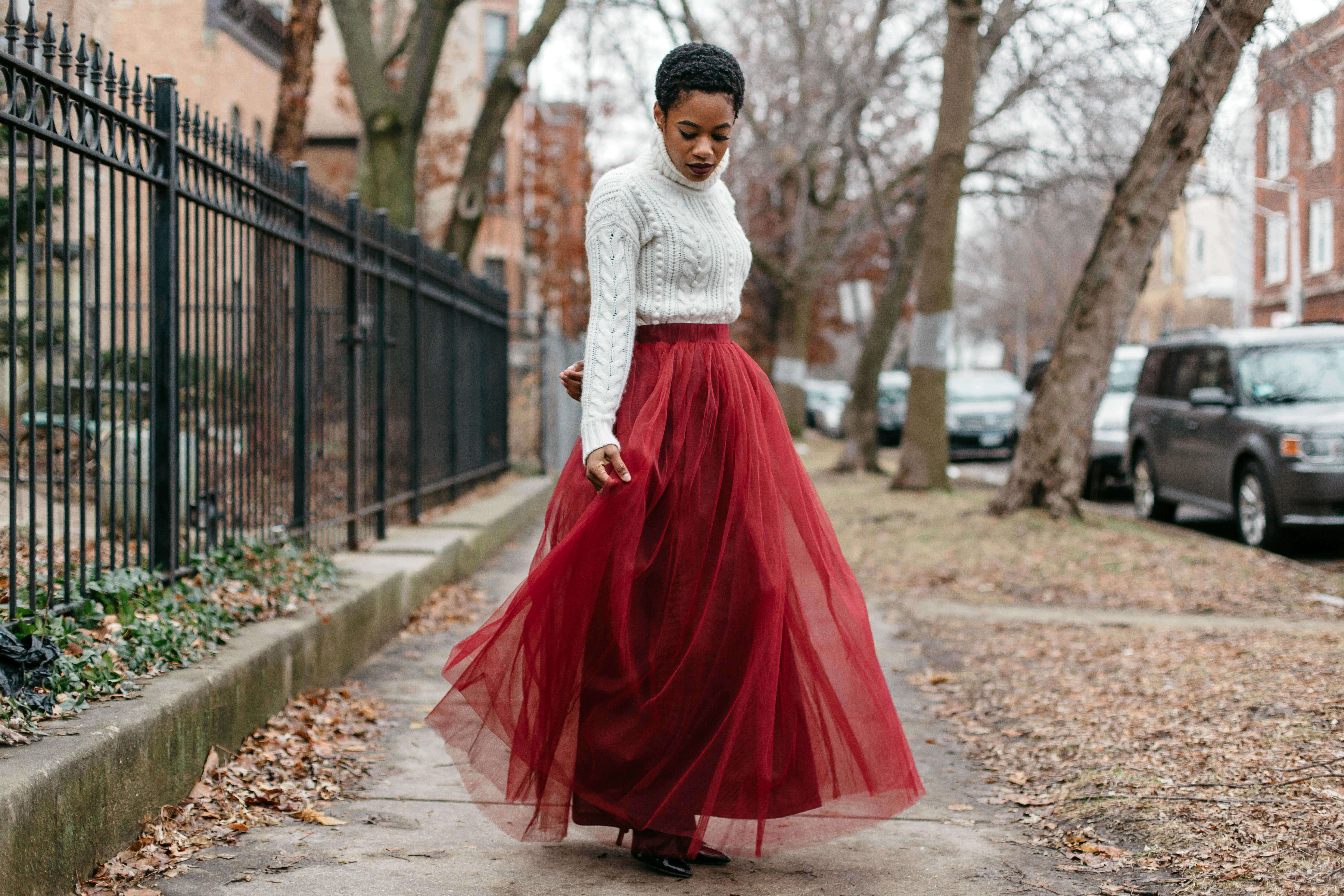 White Turtleneck and Red Tulle Skirt 6