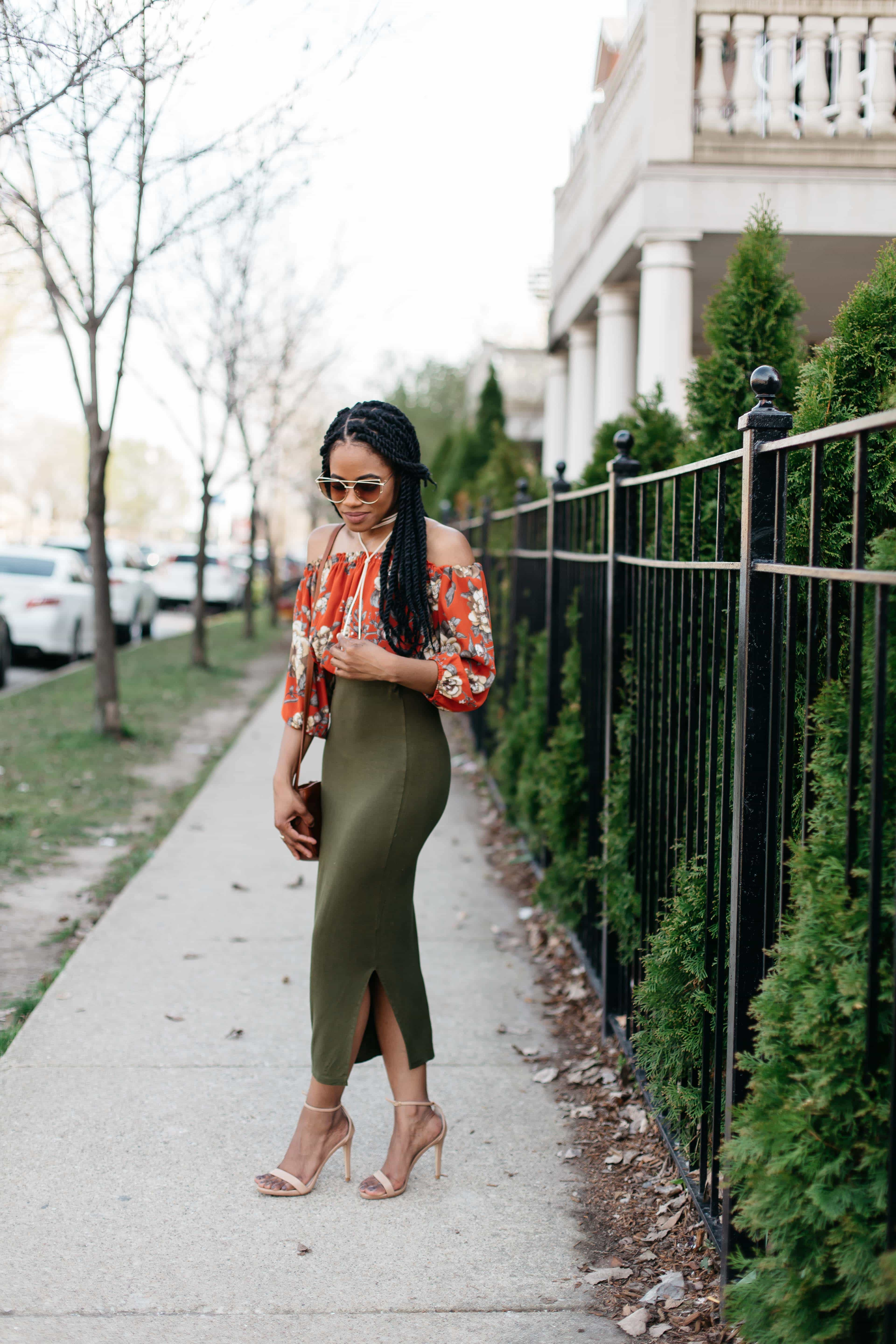 Floral Off the Shoulder Top and Green Maxi