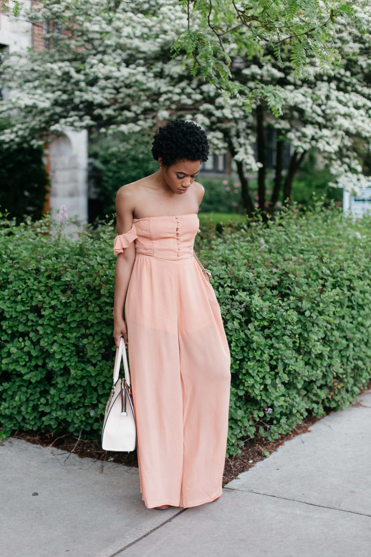 Peachy pocket strapless jumpsuit