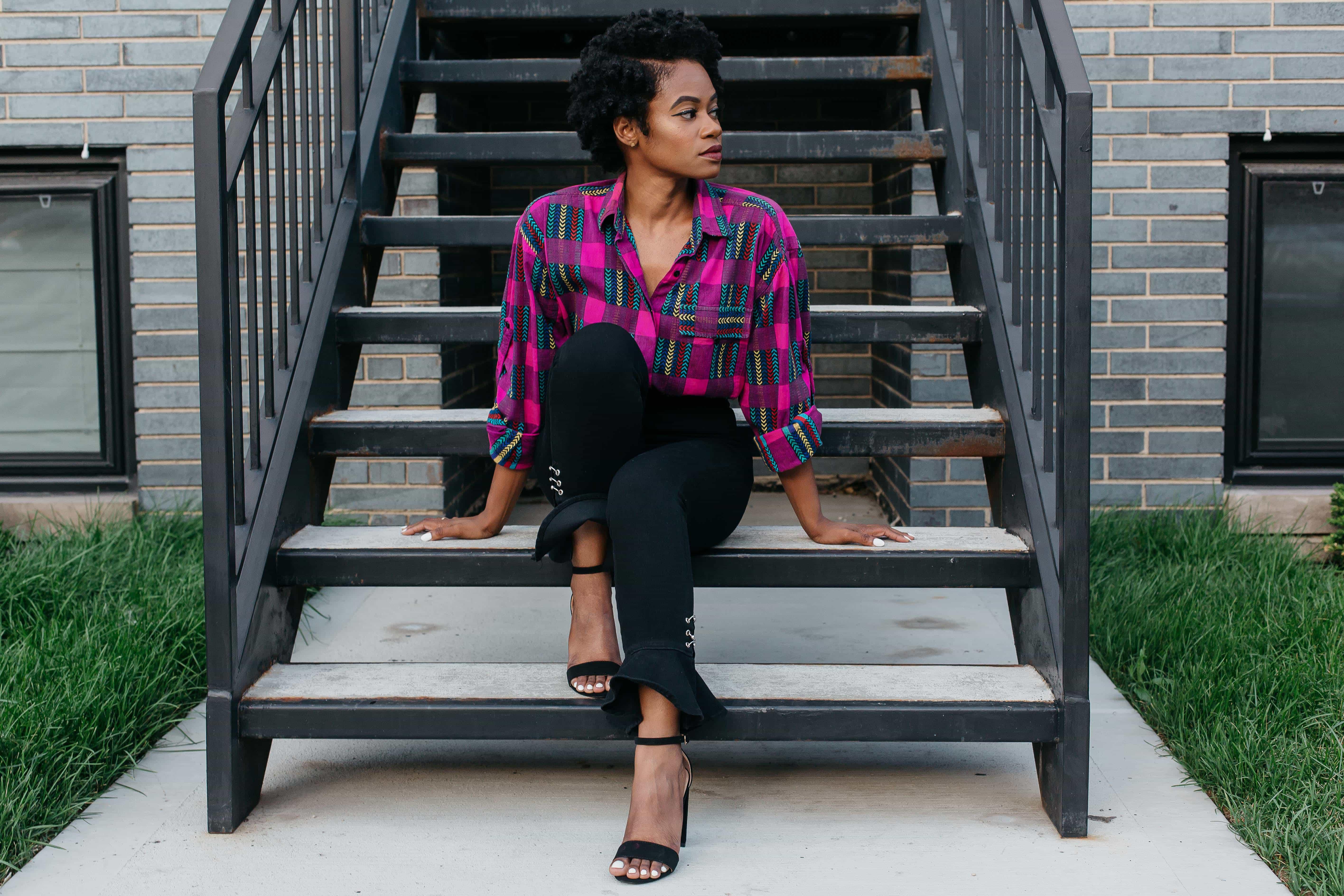 Vintage Pattern Shirt and Black Zara Jeans 1