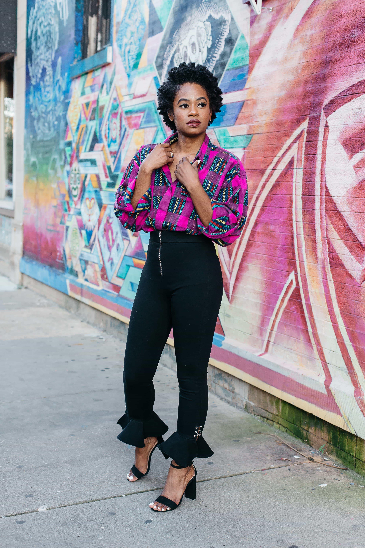 Vintage Pattern Shirt and Black Zara Jeans