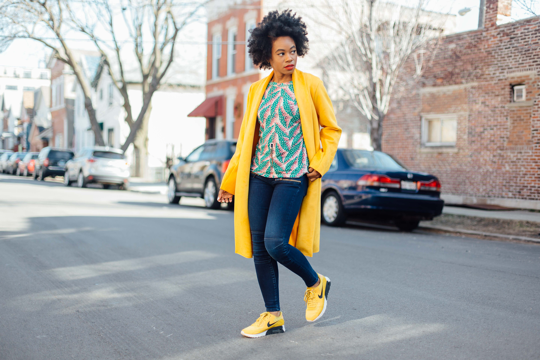 Yellow nike sneaker style