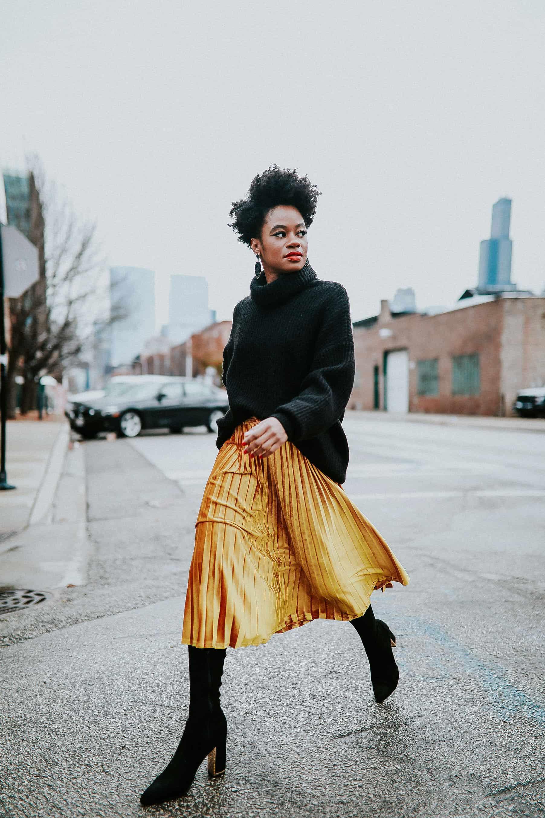Black Zara Turtleneck and Gold Target Skirt 4