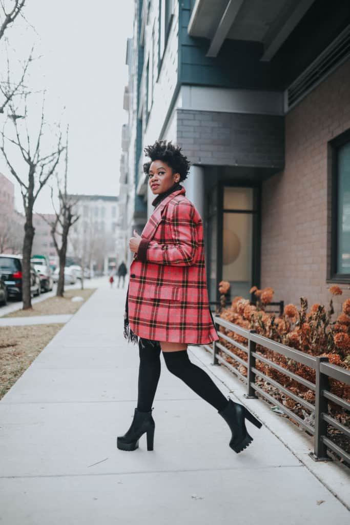 Pink Plaid blazer and black platforms
