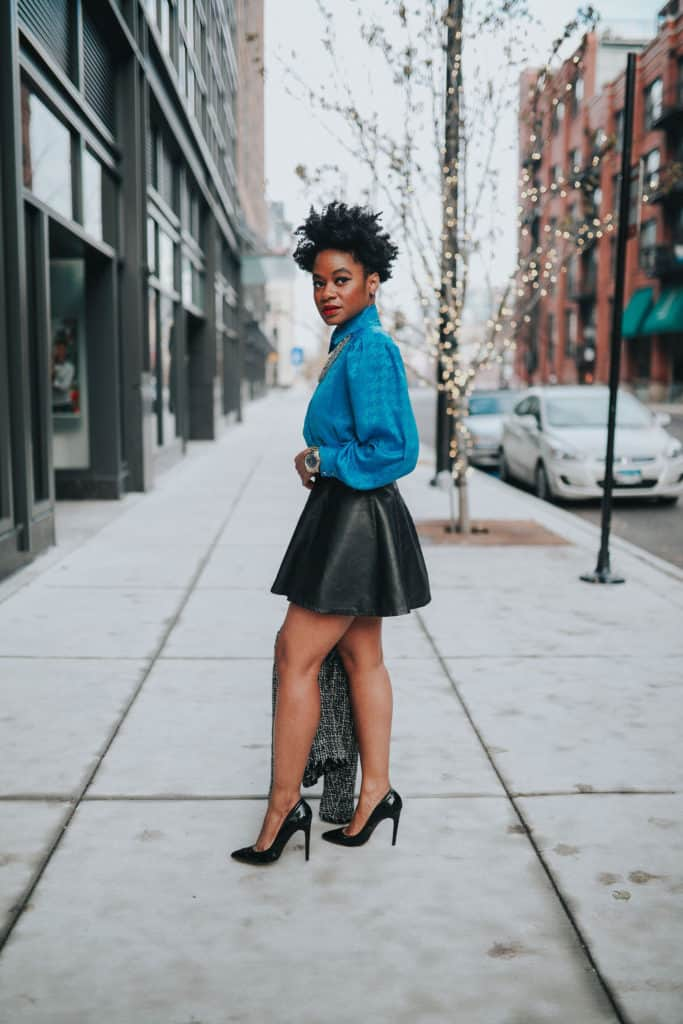 Blue blouse and leather skirt 2