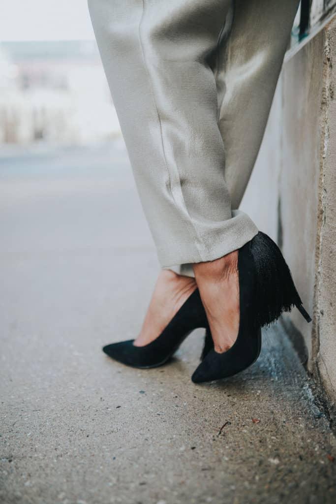 Gold Gap Pants and Akira Tassle Heels