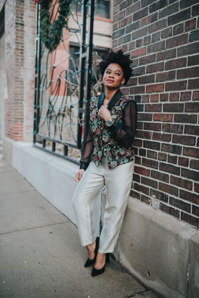 Vintage Embroidered Top and Gold Gap Pants 3