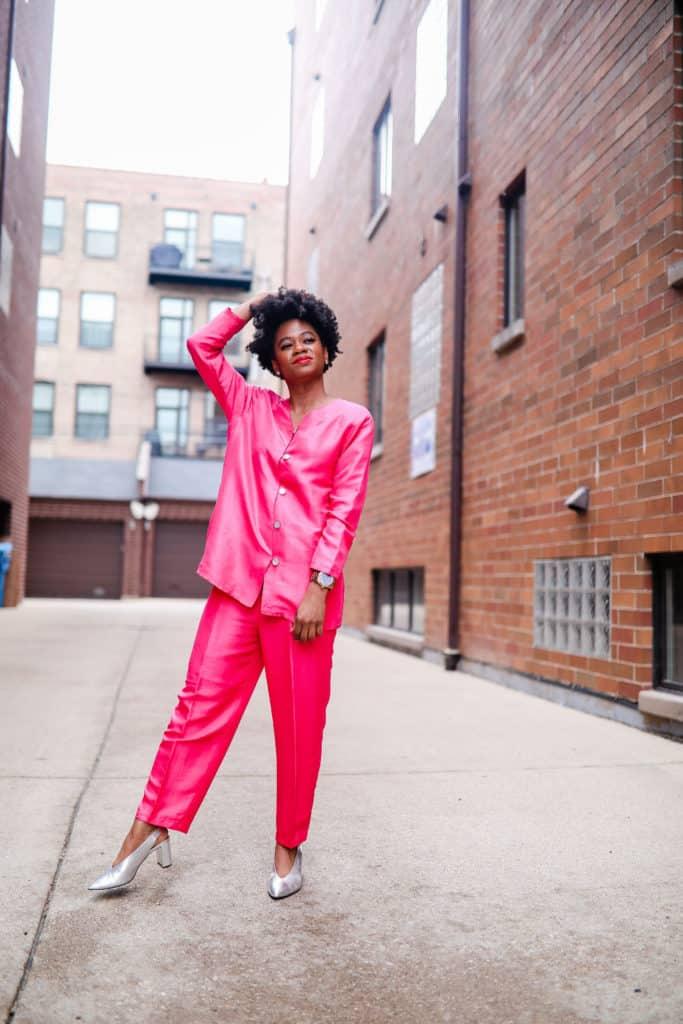 Vintage silk pink suit