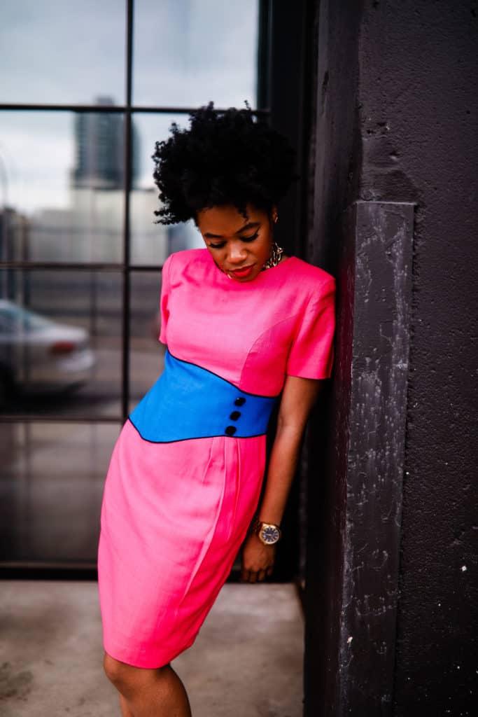 Vintage pink 80s dress