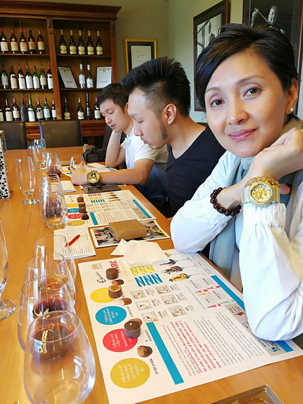 An image of wine tasting paired with chocolate at Tullocks Wine in the Hunter Valley